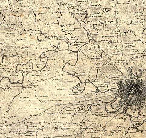 Возможно, самая старая карта, на которой отмечено Рублёво. 1766 год