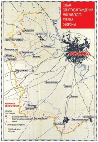 Схема электрозаграждений московского рубежа обороны