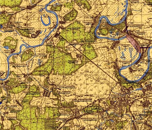 Железнодорожная ветка к РВС на немецкой карте 1940 года