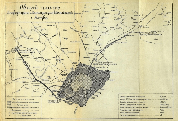 Общий план Москворецкого и Мытищинского водоснабжений г.Москвы, 1913 г.
