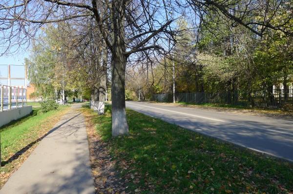 ул.В.Ботылёва, справа - ограда детского сада. Октябрь 2010 года